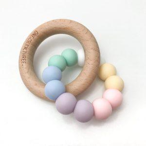 Duo Silicone & Beechwood Teether pastel rainbow