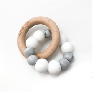 Duo Silicone & Beechwood Teether white marble