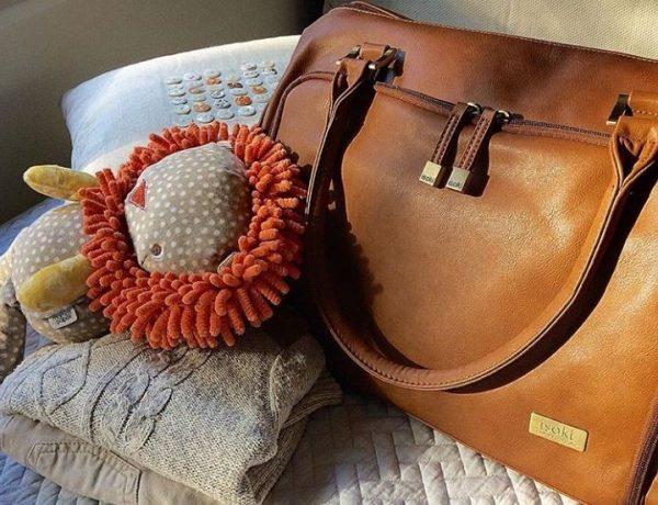 Isoki Double Zip Satchel Redwood chestnut