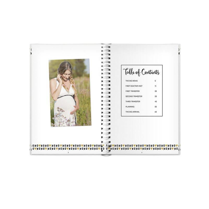 Pregnancy journal black white & gold