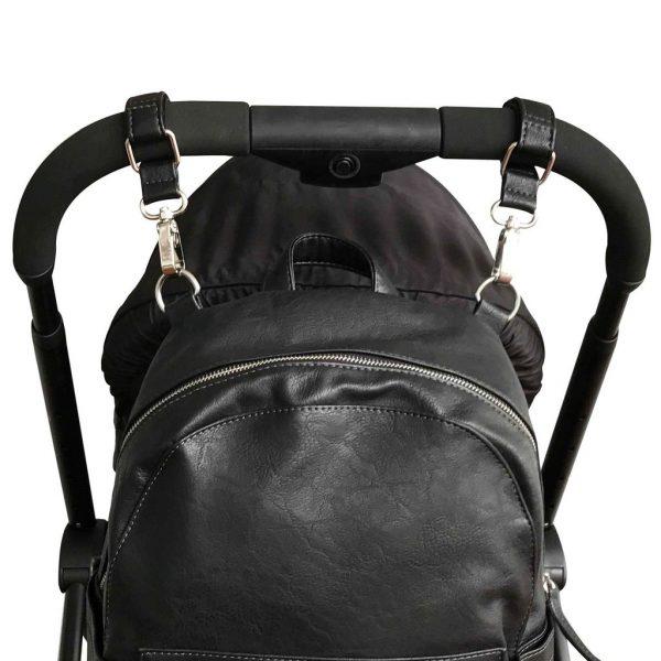 VANCHI Vegan Leather Pram Caddy & Bag Clips - Black